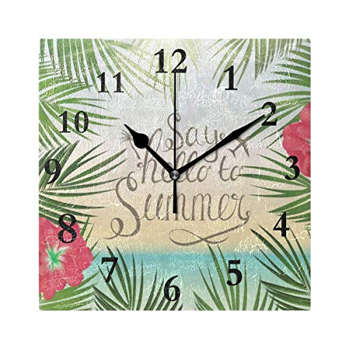 - Dozili Hello Welcome Summer Tropical Palnts Floral Flowers Ocean Sea Beach Round Wall Clock Arabic Numerals Design Non Ticking Wall Clock Large for Bedrooms,Living Room,Bathroom