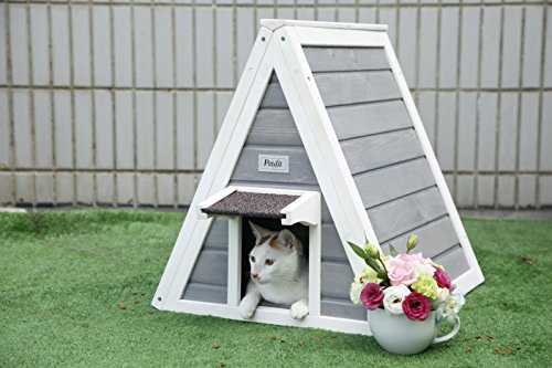 Petsfit-Triangle-Wooden-Cat-House-with-Back-Escape-Door-Front-Door-with-Eave-to-Prevent-Rain-for-Cat-and-Small-Animals
