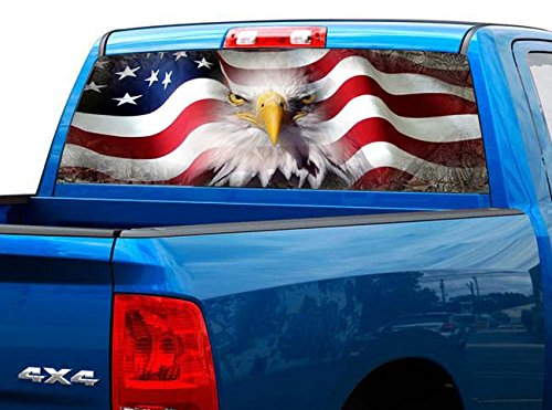 Truck Decals Graphics - P423 American Flag Eagle Tint Rear Window Decal Wrap Graphic Perforated See Through Universal Size 65