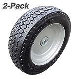 2-Pack 4.10/3.50-4' Wheelbarrow Tire Non-slip Flat Free Tire on Wheel, Form Tire for Hand Truck Tool Cart Dolly Snowplow, 2.25' Offset Hub, 3/4' Ball Bearings