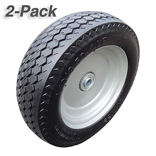 Fortitude Machines 4.10/3.50-4 Inches Wheelbarrow Tire Non-Slip Flat Free Tire on Wheel, Form Tire for Hand Truck Tool Cart Dolly Snowplow, 2.25 Inches Offset Hub, 5/8 Inches Ball Bearings