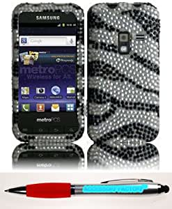 Accessory Factory(TM) Bundle (the item, 2in1 Stylus Point Pen) For Samsung Galaxy Attain 4G R920 Full Diamond Bling Cover Case - Zebra Stylish Design Snap On Hard Protector Faceplate Shell