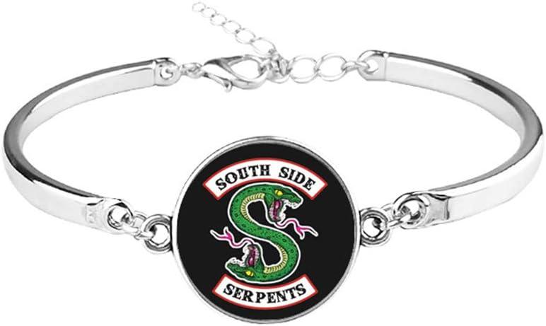 Huemny Lot de 3 bijoux Riverdale Serpents Southside Mode Bracelet Collier Boucles doreilles Bijoux Cadeau id/éal pour les filles et les femmes
