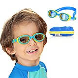 Spinosaurus Kids Swim Goggles   Swimming Goggles for Kids (Age 3-12 Years Old) with Fun Hippo Hardcase for Easy Transportation   Cushioned Frames   Anti Fog Lenses   UV Protection   (Blue+Yellow)