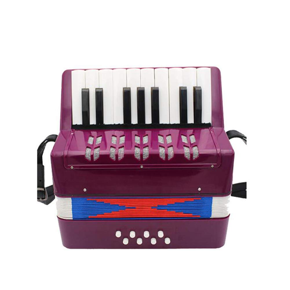 WANDIC Kids Accordion 17 Keys Toy Accordion Solo and Ensemble Instrument Musical Instrument for Early Childhood Teaching Purple