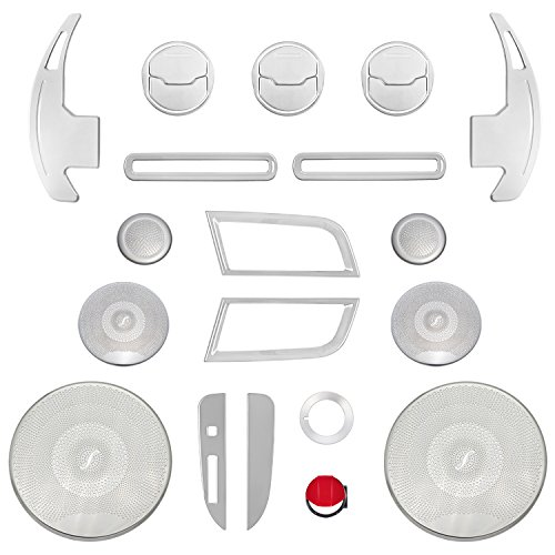 Yoursme Door Side Air Outlet Vent Trim, Shift Paddle, Door Sound & Shift Gear Box & Engine Button & Headlight Switch Covers Set Interior Accessories Decoration Silver for 2015-2018 Ford Mustang 25PCS