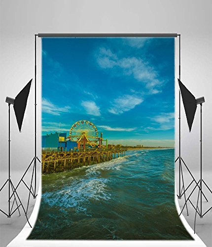 Laeacco 6x8ft Vinyl Photography Background Rollercoaster Ferris Wheel Attraction Maritime theme Park Blue Water Sea Blue Sky Background Children Playground Kids Holiday Party Photo Backdrop