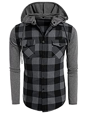 COOFANDY Men's Casual Plaid Long Sleeve Button Down Shirt Hooded Shirts