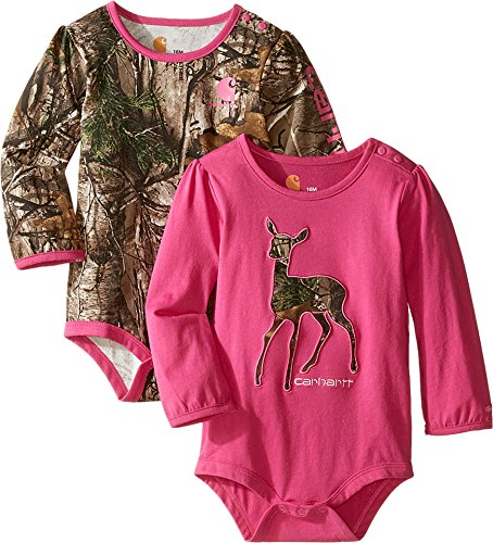 Carhartt Kids Baby Girl's Long Sleeved Pink Camo Body Shirt 2-Pack (Infant) Assorted Colors Jumpsuit (Baby Girl Camo Clothes compare prices)