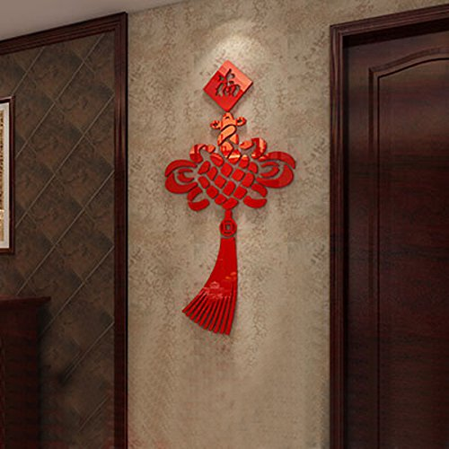 Alrens(TM) Lucky Chinese Knot Acrylic Crystal 3D Wall Stickers Creative Marriage Room New Year Holiday Chinese Style Decor Art Home Decoration adesivo de parede Mural Decal for $<!--$29.99-->