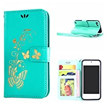MOONCASE Touch 5 Case, Bronzing Butterfly Pu Leather Wallet Pouch Etui Flip Kickstand Case Cover for Apple iPod Touch 5th Bookstyle Folio [Shock Absorbent] TPU Case with Photo Frame Mint Green