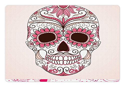 Lunarable Skull Pet Mat for Food and Water by, Day of The Dead Girly Colors Skull with Floral Ornamental Design Symbolic Artwork, Rectangle Non-Slip Rubber Mat for Dogs and Cats, Brown Pink
