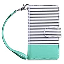 iPhone 5s Case, iPhone 5 Case, ULAK iPhone 5s/5/SE Wallet Case, Fashion PU Leather Magnet Wallet Flip Case Cover with Built-in Credit Card/ID Card Slots for 5s 5G 5 SE (Minimal Stripe Mint)