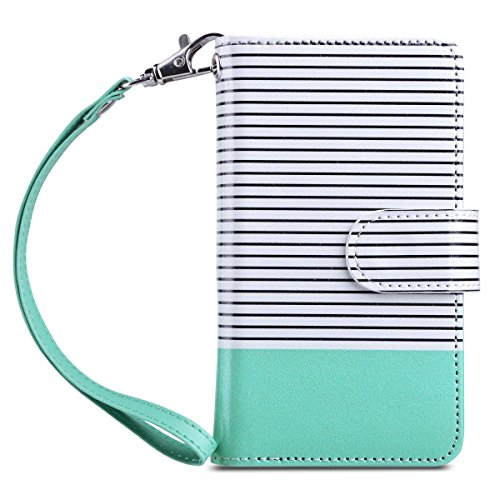 Handbag Magnet (iPhone 5s Case, iPhone 5 Case, ULAK iPhone 5s/5/SE Wallet Case, Fashion PU Leather Magnet Wallet Flip Case Cover with Built-in Credit Card/ID Card Slots for 5s 5G 5 SE (Minimal Stripe Mint))