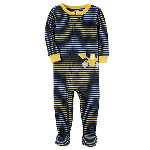 Carter's Boys' 12M-24M One Piece Striped Cotton Pajamas 18 Months (Sleeper Embroidered Footed)