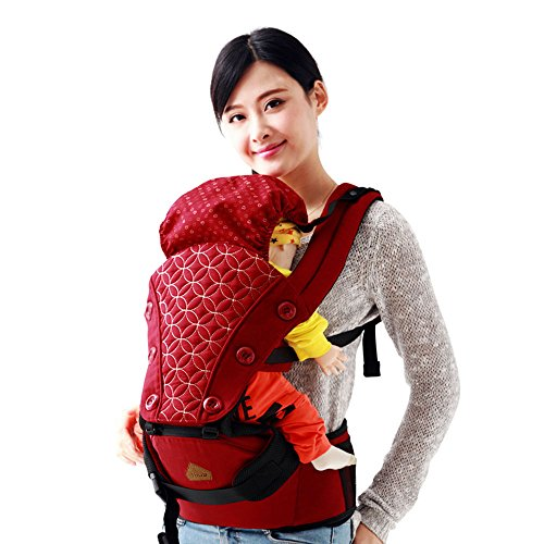 Jhua 4 Seasons 6 in 1 Baby Carrier Hip Seat with Hood Backpack Multifunctional Baby Waist Stool Baby Sling Wrap for 3-36 Month Baby Toddler from Jhua