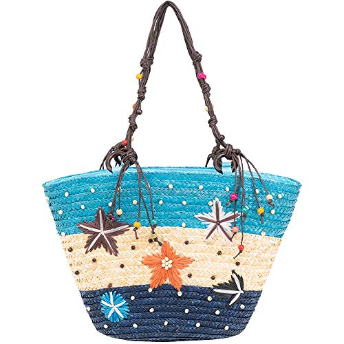 (Large Woven Straw Bag Summer Beach Bag Handmade Tote Zipper Top Handle Shouder Bag, Beaded Blue Stripes Women Bag)