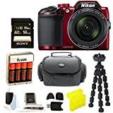 Nikon COOLPIX B500 Digital Camera (Red) with Gadget Bag & Focus Accessory Bundle