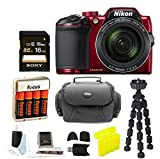 Nikon COOLPIX B500 Digital Camera (Red) with Gadget Bag & Focus Accessory Bundle For Sale