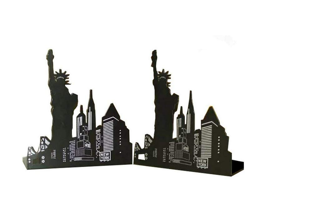 Leoyoubei Art bookends,European American Architecture Landmark Theme Style clip file books,School office gift Books Holder, black 1 pairs (New York Statue Liberty)
