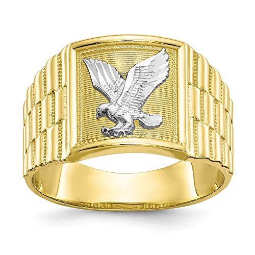 (10k Yellow Gold Mens Eagle Band Ring Size 10.00 Man Fine Jewelry Gift For Dad Mens For Him)