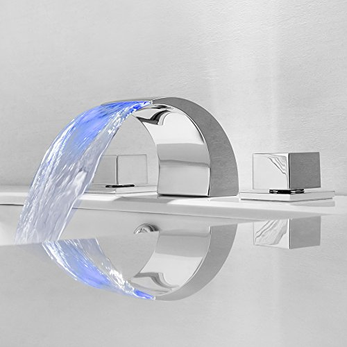 ed Temperature Controlled Faucet Water Tap Bathroom Waterfall Faucet Bathroom Faucets LED Faucet (Tap Faucet Mounted Water)