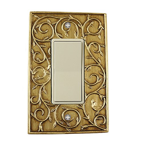 Meriville French Scroll 1 Rocker Wallplate, Single Switch Electrical Cover Plate, Antique Gold