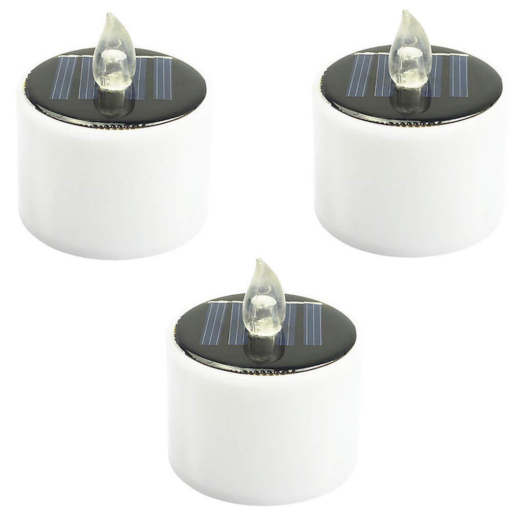 FBGood - 3 lámparas solares de Velas LED, lámpara de Mesa ...