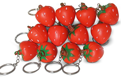 Novel Merk Red Strawberry 12-Piece Fruit Keychains for Kids Party Favors & School Carnival - Shortcake Keychains Strawberry