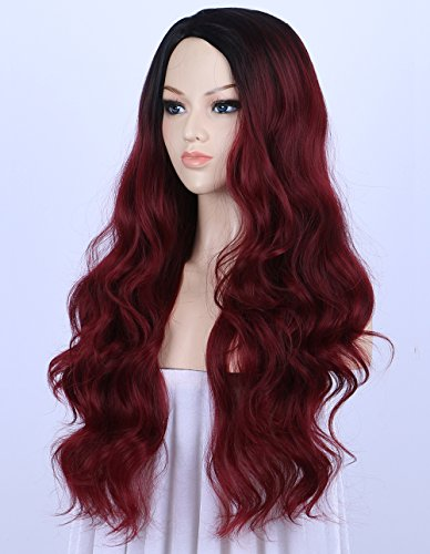 K'ryssma Ombre Wine Red Synthetic Wigs For Women, Burgundy 2 Tones Dark Roots Long Wavy None Lace Wig Heat Resistant 22 (Dark Red Wigs)