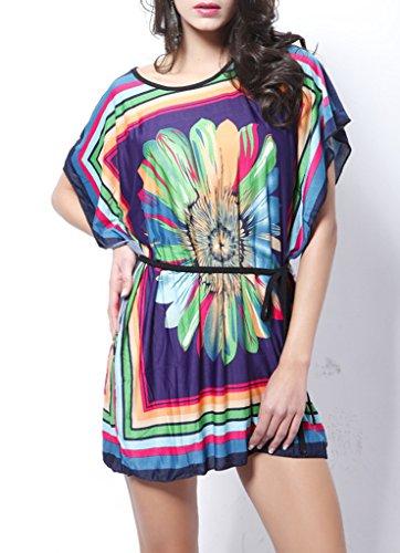 COMVIP - Vestido - Túnica - Floral - Manga corta - Mujer morado