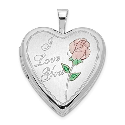 14k 20mm White Gold Enamel Rose I Love You Heart Photo Pendant Charm Locket Chain Necklace That Holds Pictures Fine Jewelry Gifts For Women For Her