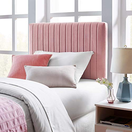 Modway Keira Channel Tufted Performance Velvet Upholstered Twin Headboard in Dusty Rose (Twin Tufted Headboard Pink)