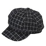 #8: HH HOFNEN Womens & Mens Wool Plaid Visor Beret Hat newsboy Cabbie Painter Cap