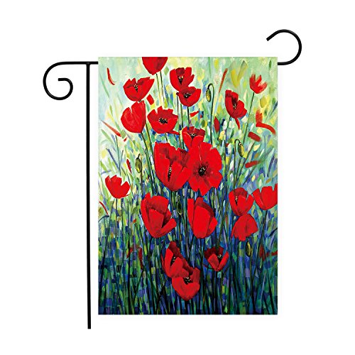 LIDU Classic Red Flowers Oil Painting Art Decorative Garden
