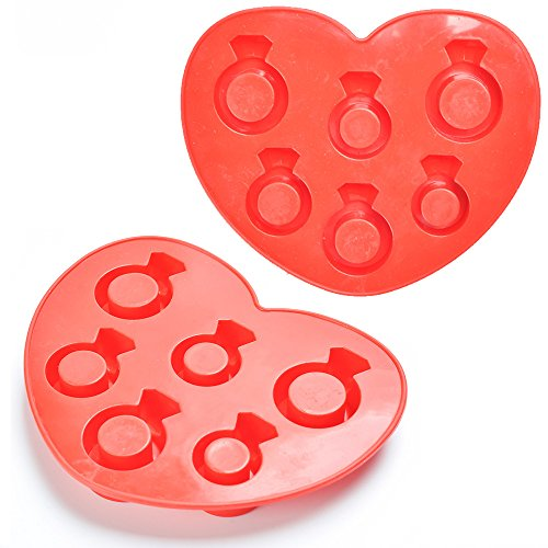 Pudding Ring (Silicone Diamond Ring Ice Cube Mold Tray Jelly Pudding Chocolate Soap Mold(Random Color))