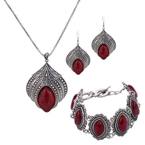 Best-selling YAZILIND Jewelry Sets Silver Plated Retro Red Synthesis-Turquoise Flower Pendant Necklace Earrings Bracelet for Women