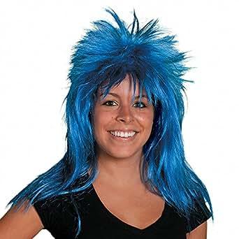Neon Blue Mullet Wig