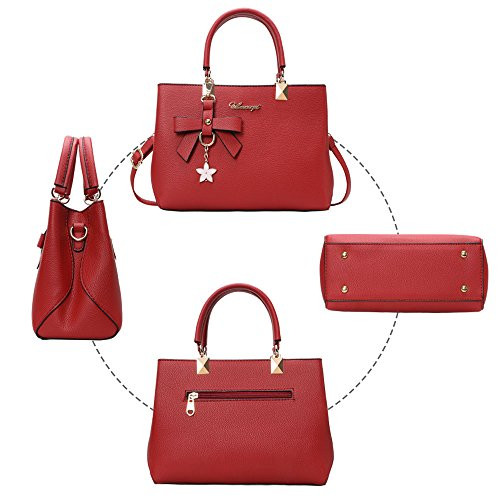 Womens BLACK Bag Leather Bags Shoulder Bag Fashion Ladies Casual URAQT PU Day Work Red Shoulder Gift Mothers Handbags amp; Tote ZrAqwZ