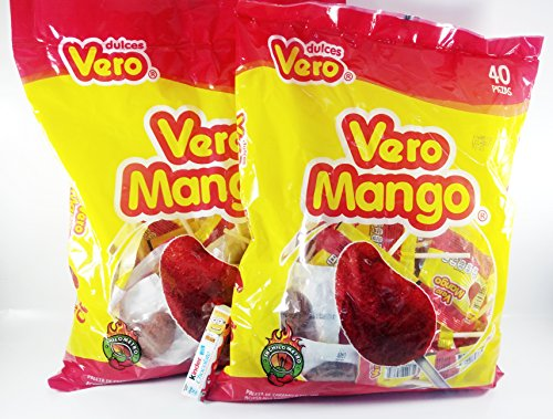 Pack of 2 Vero Mango, Chili Covered Mango Flavored Lollipops, 40 Pieces Mexican Candy with Free Chocolate Kinder Bar Included Valentine's Day Flavored Lollipops