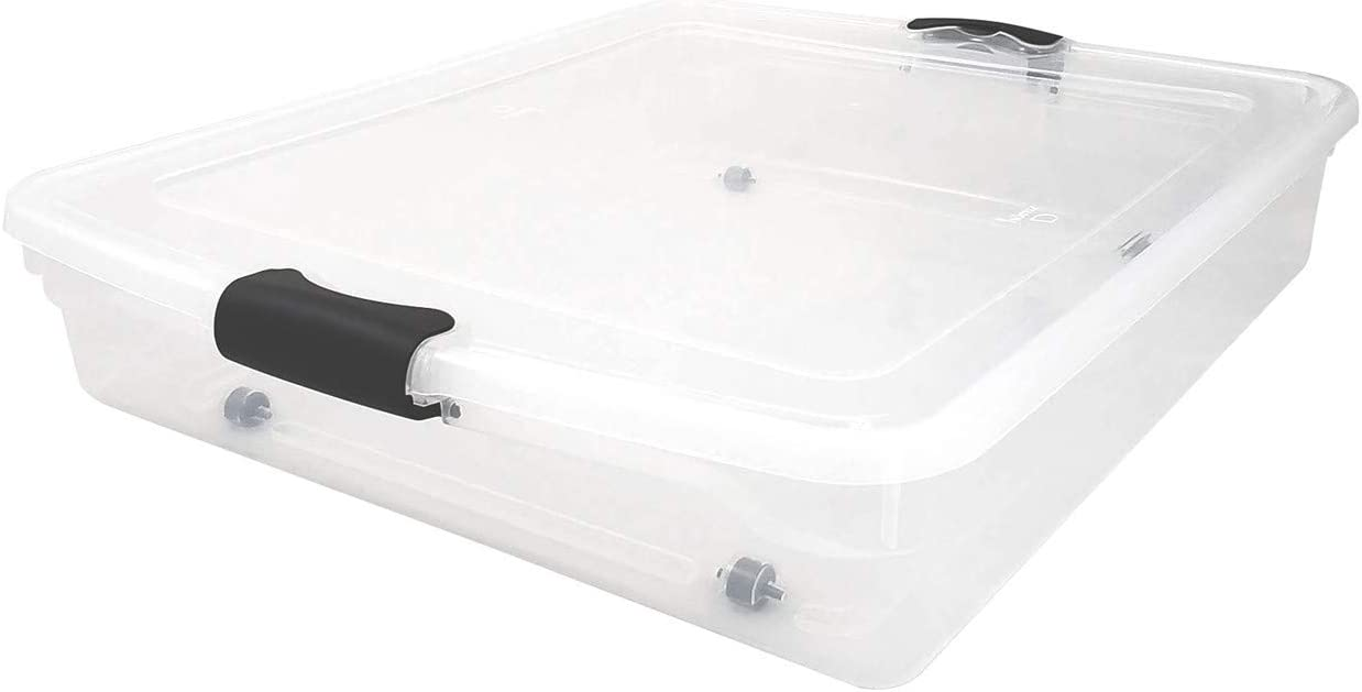 HOMZ 3460CLGRDC.02 Clear underbed Storage Container with lid, 56 Quart, Grey, 2 Pack