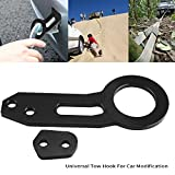 Qiilu Aluminum Alloy Universal Rear Tow Hook Towing Ring for Car Auto Trailer Support Up to 4500lbs(Black)