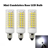Ashialight LED E11 Light Bulbs-Mini Candelabra Base Bulb,Daylight,120 Volt, Equal 60 Watt JD T4 E11 Mini Candelabra Base Bulb,88pcs LEDs,650lm,Replaces T3/T4 JD E11 Halogen Bulb (Pack of 3)