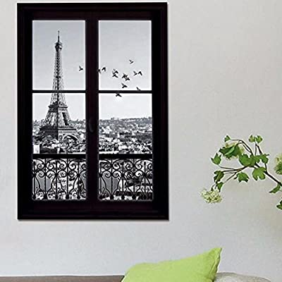Zooarts Creative 3D Window View Eiffel Tower Scenery Wall Sticker Mural Removable Vinyl Decals for Home Room Decors