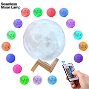 CPLA 3D Moon Lamp [Upgraded Version] LED Night Stepless Dimmable Remote and Touch Control Light 16 Colors RGB for Baby Room 5.8inch, Seamless-5.8inch-16colors