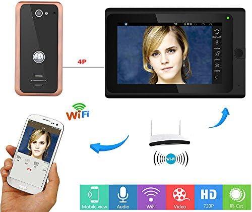 アルミ合金1000TVL有線カメラナイトビジョンを持つ7インチワイヤレス/有線無線LAN IPビデオドア電話ドアベルインターホンエントリーシステム
