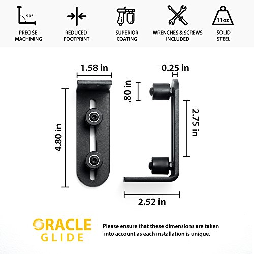 Fully Adjustable Wall Mounted Barn Door Guide - ORACLE GLIDE | IMPROVED DESIGN, Quiet, Lay-Flat System, Ball Bearing Technology, Safer Corners, Floor protecting. Hardware for Rolling and Sliding Doors by -ORACLE- (Image #1)