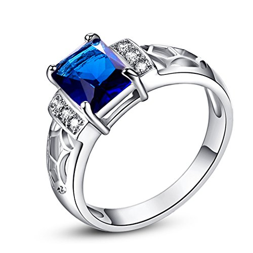 Veunora 925 Sterling Silver Created Princess Cut Sapphire Quartz Filled Hollow Ring for Women