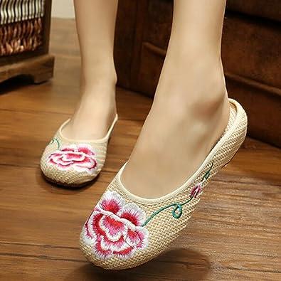 KAFEI Weibliche Bestickte Schuhe mit Einem Hohen Anstieg der Schuhe, Rot, 37