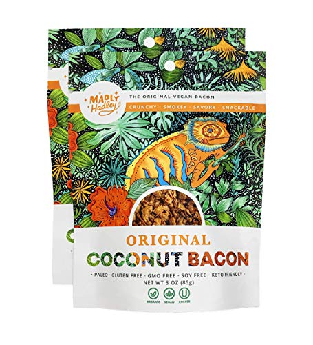 Organic Vegan Coconut Bacon 2-Packs of Non GMO, Gluten Free, Soy Free Plant Based Snack made with Healthy Vegan, Paleo and Keto Friendly Ingredients 1